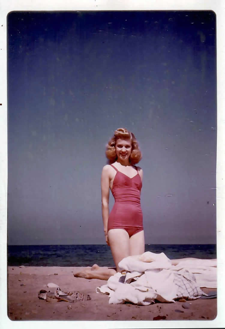 "Angel Casey in her ""California"" swimsuit at what is now called Oak Street Beech -- Late 1940's."